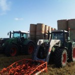 Tractors with straw bales