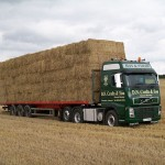Straw bales loaded on to a transporter
